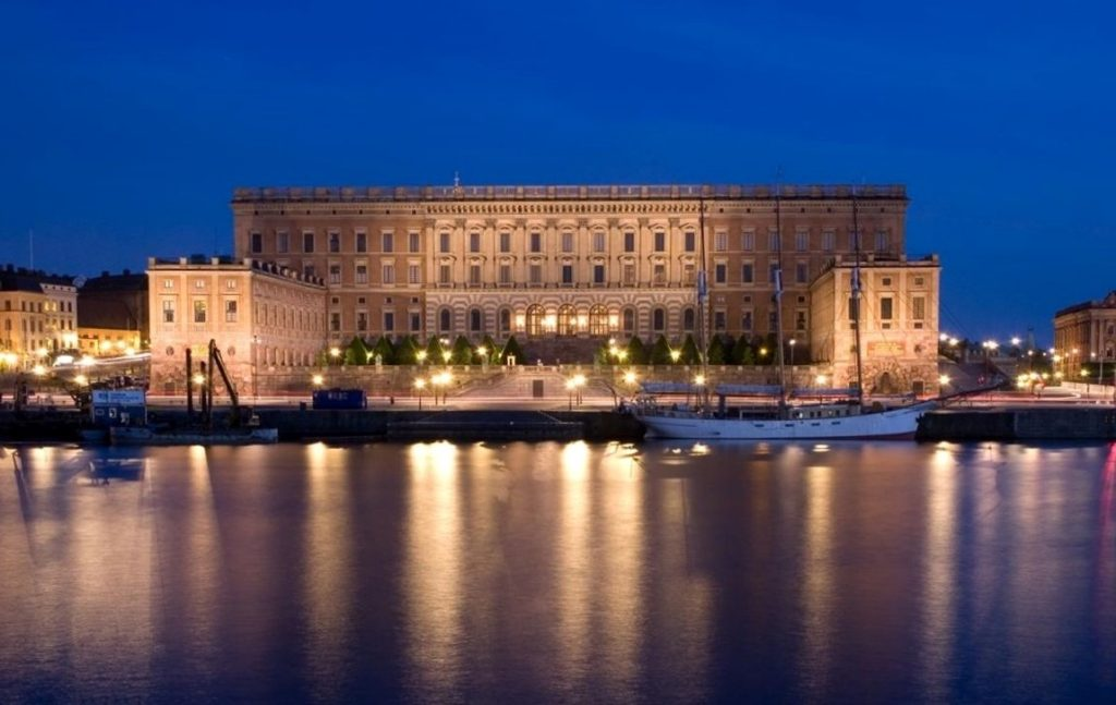 Palácio Real de Estocolmo a noite